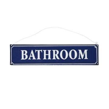 Bathroom on Bathroom Sign Blue     Eat   Ours