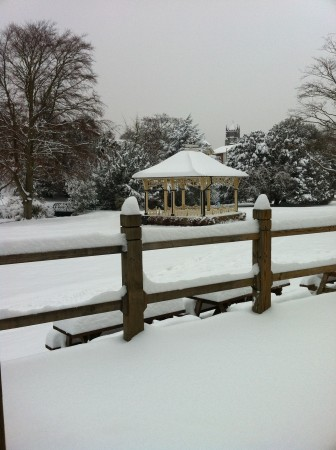 bandstand in the snow